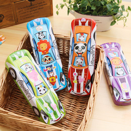 Metal Stationary Australia - 1pc Color Random Two Layer Cartoon Panda Car Shape Metal Plastic Pencil Case Pen Box Stationary Storage Kids Gift School Supply