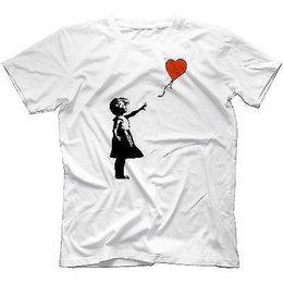 Balloon Cotton Australia - Banksy Girl With Balloon T-Shirt 100% Cotton Funny Urban Graffiti Art Banksey