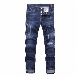 Chinese  19SS The latest Italian men's hollow high-quality jeans hip-hop logo designer trousers men's size 28-38 new model DN15 manufacturers