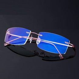 Black Blocks Australia - Vazrobe Rimless Computer Glasses Men Women Ultra-light Blue Light Blocking UV400 Radiation Ray Anti Eyewear for Work Home Gaming