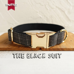 metal dog collars Canada - MUTTCO retailing high quality golden metal collar for dog THE BLACK SUIT design dog collar 5 sizes UDC007J