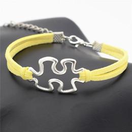 $enCountryForm.capitalKeyWord Australia - 2019 New Fashion Infinity Love Autism Awareness Jigsaw Puzzle Symbol Pendant Bracelets for Women Men Yellow Leather Suede Rope Charm Jewelry