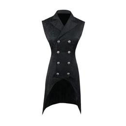 $enCountryForm.capitalKeyWord UK - Laamei 2019 Fashion Men Double Breasted Lapel Collar Waistcoat Jacquard Blazer Vest Gothic Steampunk Split Blazer Dress Suit New