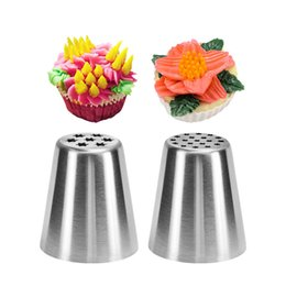 $enCountryForm.capitalKeyWord NZ - 2pc set Stainless Steel Russian Nozzle Icing Piping Tips Flower Cream Sugarcraft Pastry Baking Tool Cake Decorator