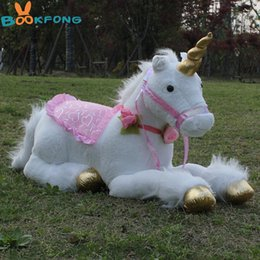 $enCountryForm.capitalKeyWord Australia - 85cm Jumbo White Unicorn Plush Toys Giant Unicorn Stuffed Animal Horse Toy Soft Unicornio Peluche Doll Gift Children Photo Props J190718