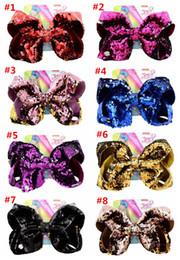 $enCountryForm.capitalKeyWord Australia - 8inch JoJo Reversible Sequins Bow Hairpin Mermaid Glitter Baby Girls Hair Clip Bling Barrettes Fish Scale Hairclip Hair Pin Hair Accessories