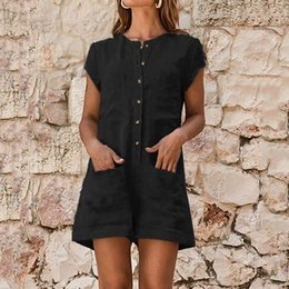 $enCountryForm.capitalKeyWord Australia - Women summer overalls for women short sleeve casual playsuits Loose shirt Jumpsuit linen overalls body feminino para mulheres