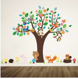 Wholesale forest animals monkey play under flower tree wall sticker for kids baby nursery children room decorations decor home decal
