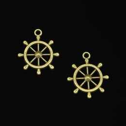 $enCountryForm.capitalKeyWord Australia - 64pcs Charms ship's wheel helm rudder Antique Bronze Plated Pendants Fit Jewelry Making Findings Accessories 28*24mm