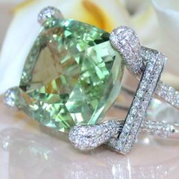 $enCountryForm.capitalKeyWord NZ - Vintage Green Stone Ring Lady Wedding Ring Gift Silver Princess Luxury Jewelry wholesale lots bulk