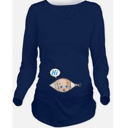 long sleeve modal tees Australia - Maternity Pregnancy Clothes 2017 Baby Foot Print Tee Top Maternity Long Sleeve T shirt Women Funny Pregnant Women TShirts S-2XL
