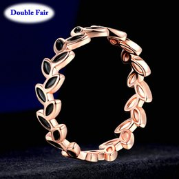 wholsale jewelry NZ - Drop Leaf Rings Classic Rose Gold Color Engagement Fashion Jewelry For Women Girls Party Wholsale DWR183