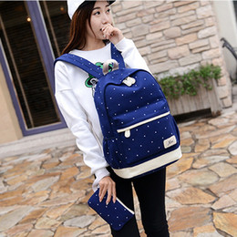 $enCountryForm.capitalKeyWord Australia - Dot Canvas Printing Backpack Women School Back Bags For Teenage Travel Backpacks Female Schoolbag Backpack 3pcs Set