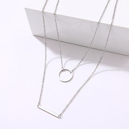white gold disc charm Australia - CACANA Delicate Layered Necklaces Women Multi Layering Chain Bar Necklaces Disc Pendant Charm Statement Stainless Steel Jewelry