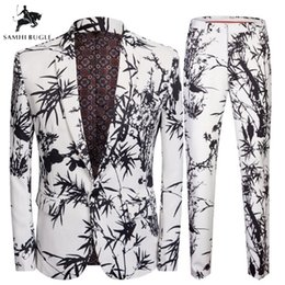 chinese coat designs NZ - Brand Costume Homme Chinese Style Bamboo Print 2 Pieces Set Latest Coat + Pant Designs Wedding Stage Singer Slim Fit Costume