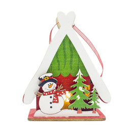 small wood house UK - Colorful Painting Small Wood House Hanging Decoration Wooden Painted Pendant Christmas Tree Pendant With Light