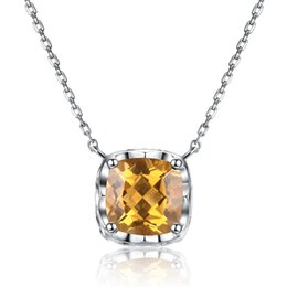 $enCountryForm.capitalKeyWord Australia - Yellow Genuine Natura High Quality Citrine Necklaces 925 Sterling Silver Fine Jewelry Necklaces & Pendants for Charm women gift