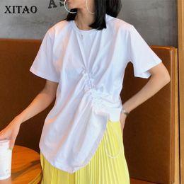 $enCountryForm.capitalKeyWord Australia - [XITAO] Women 2019 Summer New Korea Fashion O-neck Short Sleeve Loose Tee Female Solid Color Bandage Casual T-shirt WLD1015