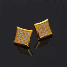 gold rings for ears NZ - Ice Out Hiphop Earrings For Men Bling Cubic Zirconia Gold Earings Rings Hip Hop Jewelry Cool Rappers DJ Ear Studs Chandelier