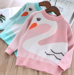$enCountryForm.capitalKeyWord Australia - 2019 Autumn kids sweater girls cute swan pattern knitted princess pullover children long sleeve jumper children cartoon clothing F8452