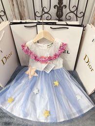 Solid Cotton Shawl Australia - 2019 summer baby girls dress Mesh stitching princess dress with Pleated shawl collar children clothing kids clothes girls ABD-15