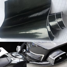 Venta al por mayor de 20 cm x 50 cm Negro Brillante 5d CARBONO de Fibra Stying PVC Adhesivo Vinilo Motocicleta Tablet Wrapping Sticker Decals Auto Accessories
