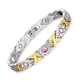 negative bracelet 2019 - Women Crystal Stainless Steel Magnetic Therapy Bracelet Negative Ion Health Bracelet Pain Relief for Arthritis and Carpa