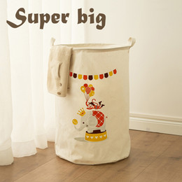 extra clothing NZ - Extra Large Cotton Clothes Toys Storage Bucket Basket Fabric Waterproof Collapsible Laundry Tweezers Portable Hamper Wholesale Free Shipping