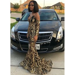$enCountryForm.capitalKeyWord Australia - 2019 Sexy Gold Mermaid Prom Dresses New Long Sleeve Sparkly Sequined Black Girl V Neck Sweep Strain Formal Evening Dress Party Gowns