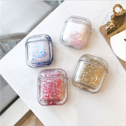 TransparenT plasTic shell online shopping - Luxury Glitter Quicksand Sparkle Protective Cover Case for AirPods Bluetooth Earphone Hard PC Shell Transparent
