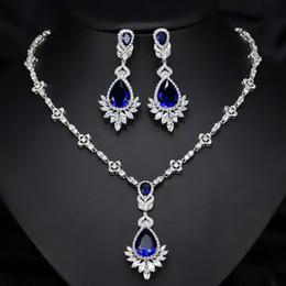 $enCountryForm.capitalKeyWord Australia - Shining Crystals Blue Diamonds Necklace Earrings Sets For Bride Fashion Wedding Jewelry Sets Zircon Gift Water Drop For Women