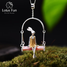 $enCountryForm.capitalKeyWord Australia - Lotus Fun Real 925 Sterling Silver Natural Shell Creative Handmade Fine Jewelry Miss Rabbit Pendant Without Chain Acessorios Y19061203