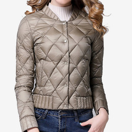 Wholesale plus size down quilted jackets resale online - Winter Plaid Quilted Down Portable Women s Short Parka Stand Collar Button Jacket Women Autumn Warm Coat Plus Size xl Y190826