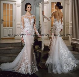 White red beach Wedding dresses online shopping - 2019 New gorgeous Mermaid Wedding Dresses Long Sleeves with d Lace Appliqued Sweep Train Wedding Bridal Gown Custom Made vestidos de noiva