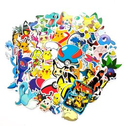 cartoon laptop stickers Australia - 107 Pcs Pocket monster Stickers cartoon Pikachu Book Lage Laptop Refrigerator car Sticker Toy free shipping