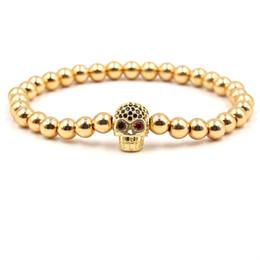 $enCountryForm.capitalKeyWord NZ - High Quality Punk Skull Skeleton Bracelets with Red Crystal Men Gold Beads Elastic Bracelets Bangle Unisex Hip Hop Bracelet Lovers Gift