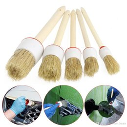 wheel trimmer UK - Wholesale- rundong 5 Pcs Soft wood handle car detailing brushes for Cleaning Dash Trim Seats Wheels Wood Handle TJ