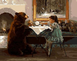 oil paints beautiful girls UK - Bear With Girl - Paint By Numbers Kits For Adults Diy Wall Art Draw On Canvas Beautiful Painting By Numbers Hand Made Paint