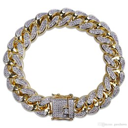 $enCountryForm.capitalKeyWord Australia - 18k Gold Silver Mens Iced Out CZ Zircon USA Miami Cuban Link Chain Bracelet 10 14 18mm Rapper Hip Hop Punk Rock Curb Jewelry Gifts for Boys