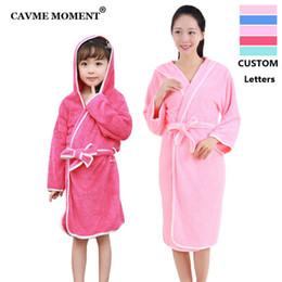 Custom kimono online shopping - CAVME Winter Hooded Coral Fleece Robes for Women Thicken Long Robe Kimono Sleepwear CUSTOM LETTERS Gift for Kids