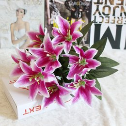 Fake Lilies Flowers Australia - 10 Heads Garden Gift Party Home Fake Lily Valentine's Day Easter Office Romantic Artificial Flower Wedding Decorative Bouquet