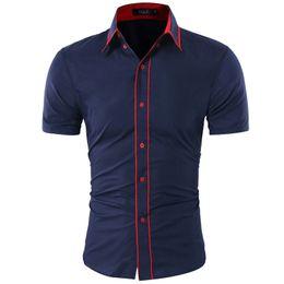 Double Shirt Designs Australia - Brand 2019 Fashion Male Hawaiian Shirt Short-sleeves Tops Double Collar Button Design Mens Dress Shirts Slim Men Shirt Xxl