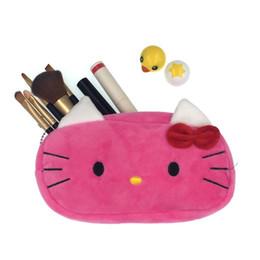 b5a78f6c716a Cartoon Plush Hello Kitty Cosmetic Bag Women Travel Makeup Case Zipper Make  Up Bags Storage Pouch Toiletry Kit Wash Beauty Box  87299