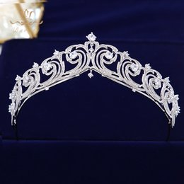 tiara birthday crown NZ - ride tiara crown Sparkling Full Zircon Bride Tiaras Crowns Wedding Plated Crystal Hairbands Hair Accessories Jewelry Birthday Gifts For G...