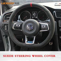 polo scirocco UK - Black suede Leather Car Steering Wheel Cover for Volkswagen Golf 7 Golf R MK7 VW Polo GTI Scirocco 2015 2016