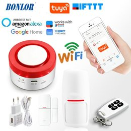 personal security alarm siren Canada - Tuya Smart WiFi Home Security Alarm System 433MHz Wireless Strobe Siren Alarm Compatible With Alexa Google Home IFTTT Tuya APP
