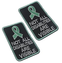 $enCountryForm.capitalKeyWord Australia - Words-not all disabilities are visable patch Green ribbon marking Embroidery patches with Hook backing for Tactical Hats and Gear