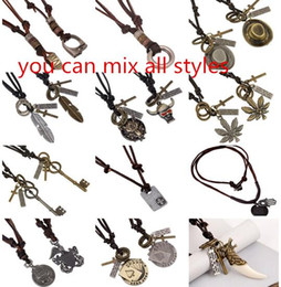 indian style necklace for men Australia - 19 styles Necklace Manmade Leather Bolo Tie for Men Women Flower Indian Chief Eagle Rodeo Western Cowboy Necklaces pksp5-6