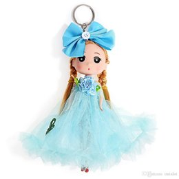 China 12PCS LOT 18cm Single Yarn  Veil Wedding Bag Ornaments Cartoon Girl Key Ring Keychain Baby Doll Toy Gifts Style Random suppliers