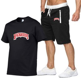 Wholesale black gold hip hop clothes resale online - Mens Sportswear Sets BACKWOODS Printing Fashion T Shirt Shorts Suit Cotton Hip Hop Streetwear Casual Tracksuit Summer Clothing